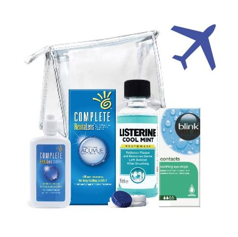 Travel Pack  - idealny na wyjazd! Blink contacts®, COMPLETE Revitalens® 60 ml i Listerine® COOL MINT